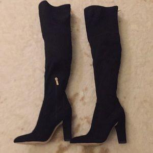 Ivanka Trump black suede knee high boots